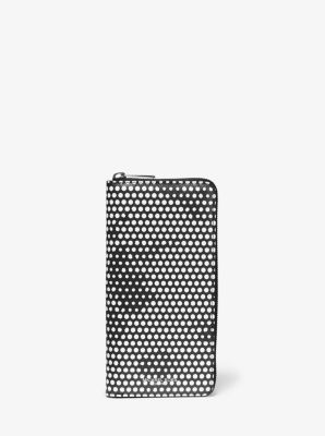 마이클 코어스 맨 켄트 장지갑 Michael Kors Kent Dot Print Zip-Around Wallet,BLACK/WHITE