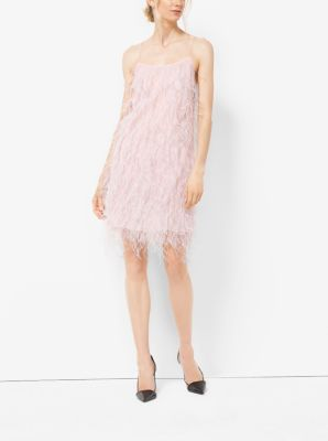 Ostrich Feather-Embroidered Chantilly Lace Slip Dress  by Michael Kors