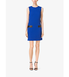 Leather-Pocket Bouclé-Crepe Shiftdress by Michael Kors
