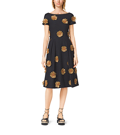 Raffia-Embroidered Silk-Viscose Boatneck Dress by Michael Kors