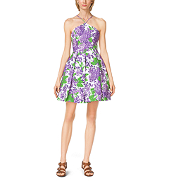 Lilac-Print Cotton Halter Dress