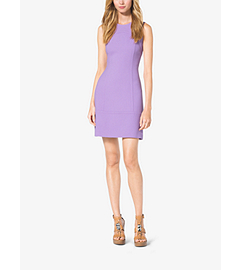 Bouclé-Crepe Boat-Neck Shift Dress