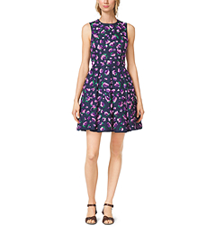 Lilac-Embroidered Silk and Wool Mikado Dance Dress by Michael Kors