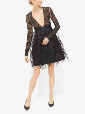 Sequin and Feather-Embroidered Silk and Wool Mikado Dress by Michael Kors
