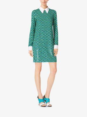Sequined Hexagon Silk-Georgette Shirtdress by Michael Kors