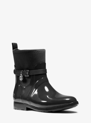 Charm Nylon and Rubber Ankle Rain Boot by Michael Kors