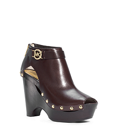 Charm Open-Toe Leather Platform Wedge Ankle Boot