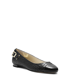 Dion Python Pattern-Embossed Leather Ballet Flat