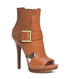 Lucinda Open-Toe Leather Ankle Boot