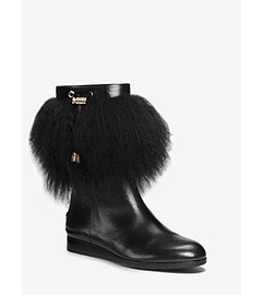 Lizzie Fur-Trimmed Leather Boot