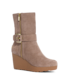 Lizzie Suede and Shearling Wedge Boot