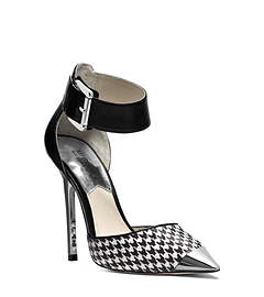 Zady Ankle-Strap Houndstooth Pump