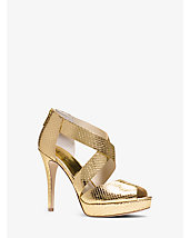 Ariel Embossed-Leather Platform Sandal