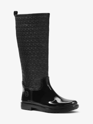 Blakeley Embossed-Leather and Rubber Rain Boot by Michael Kors