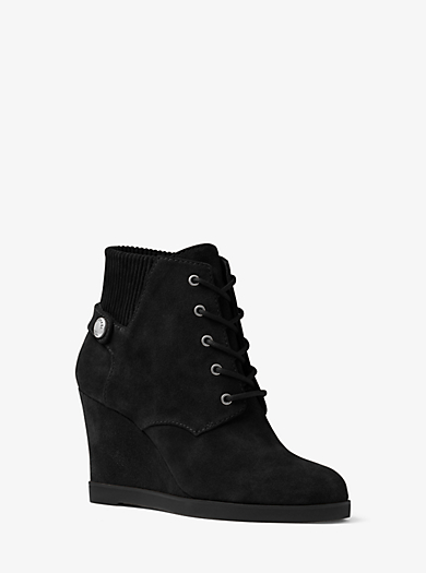 Carrigan Lace-Up Suede Wedge Boot  by Michael Kors