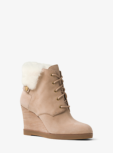 Carrigan Suede and Fur Wedge Boot by Michael Kors