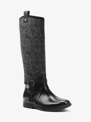 Charm Tweed and Rubber Rain Boot by Michael Kors