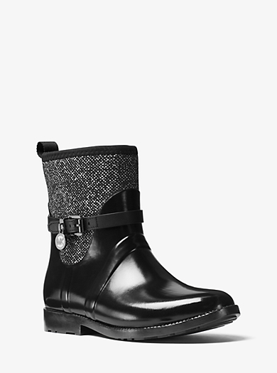 Tweed and Rubber Rain Boot by Michael Kors