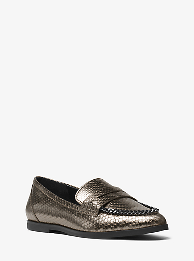 Connor Embossed-Leather Penny Loafer by Michael Kors