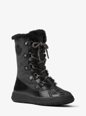 Clove Flannel and Leather Boot by Michael Kors