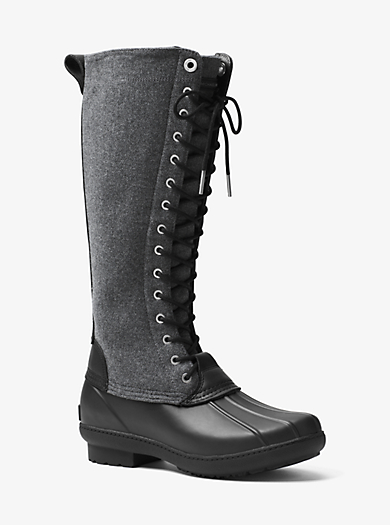 Easton Flannel and Rubber Rain Boot by Michael Kors