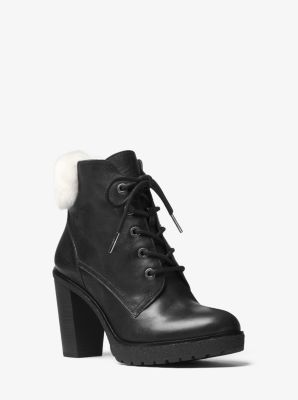 Kim Leather and Shearling Lace-Up Boot by Michael Kors
