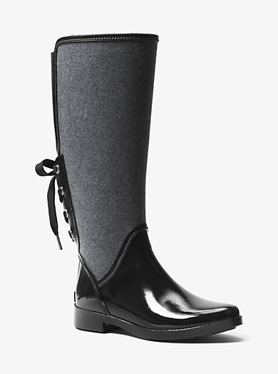 Larson Flannel and Rubber Rain Boot  by Michael Kors
