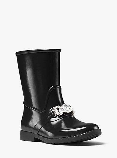 Leslie Embellished Rubber Rain Boot by Michael Kors