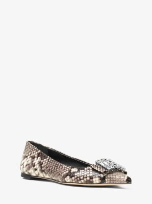 Michelle Embossed-Leather Flat by Michael Kors