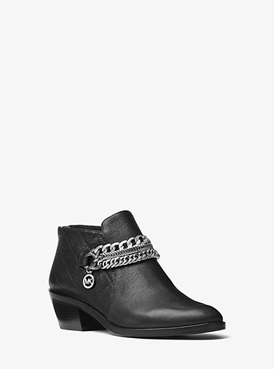 Rickie Chain-Embellished Leather Ankle Boot by Michael Kors