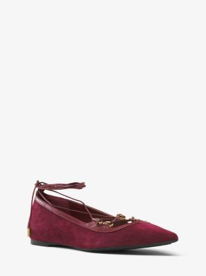 Tabby Suede Lace-Up Flat by Michael Kors