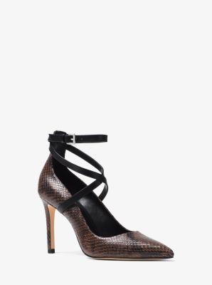 마이클 마이클 코어스 Michael Michael Kors Jeannie Snake-Embossed Leather Pump,TRUFFLE