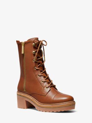 마이클 마이클 코어스 Michael Michael Kors Anaka Leather Combat Boot,LUGGAGE