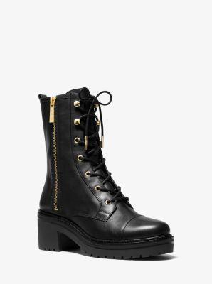 마이클 마이클 코어스 Michael Michael Kors Anaka Leather Combat Boot,BLACK