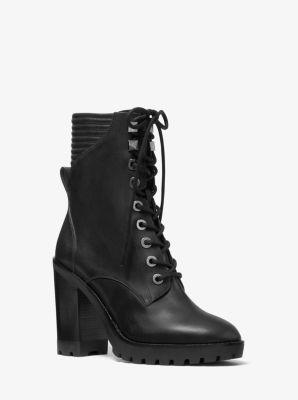 마이클 마이클 코어스 Michael Michael Kors Bastian Leather Combat Boot,BLACK