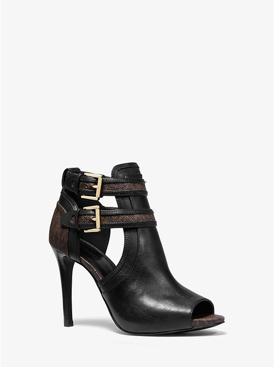 Blaze Leather and Logo Open-Toe Bootie | Michael Kors