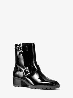 마이클 마이클 코어스 Michael Michael Kors Bronwyn Patent Leather Moto Boot,BLACK