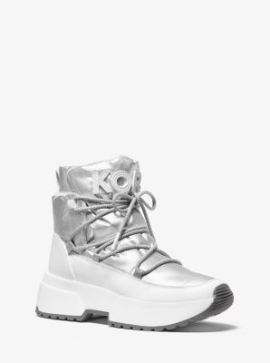 마이클 마이클 코어스 Michael Michael Kors Cassia Metallic Nylon and Leather Boot,SILVER