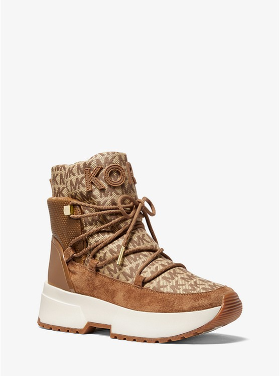 Cassia Logo Jacquard and Suede Boot | Michael Kors