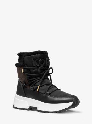 마이클 마이클 코어스 Michael Michael Kors Cassia Nylon and Leather Boot,BLK/BROWN