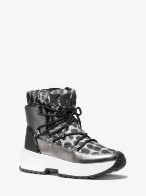 마이클 마이클 코어스 Michael Michael Kors Cassia Cheetah-Print Nylon and Mirror-Metallic Boot,GUNMETAL