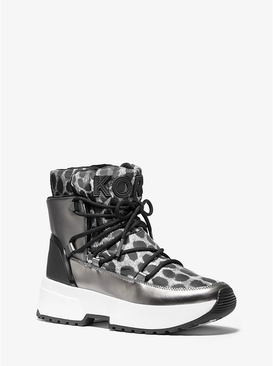 Cassia Cheetah-Print Nylon and Mirror-Metallic Boot | Michael Kors