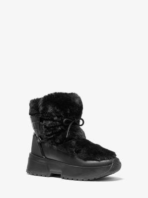 마이클 마이클 코어스 Michael Michael Kors Cassia Faux Fur and Leather Boot,BLACK
