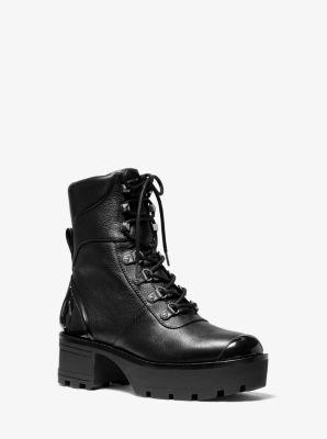 마이클 마이클 코어스 Michael Michael Kors Khloe Leather Combat Boot,BLACK