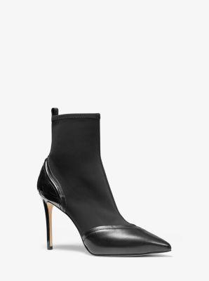 마이클 마이클 코어스 Michael Michael Kors Khloe Scuba and Leather Ankle Boot,BLACK