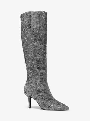 마이클 마이클 코어스 Michael Michael Kors Katerina Crystal-Embellished Knee-High Boot,BLACK/SILVER