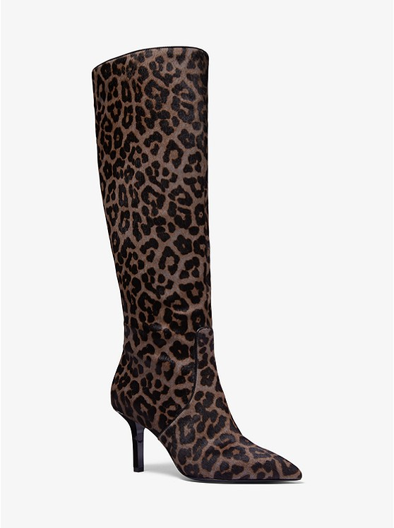 Katerina Leopard Calf Hair Knee-High Boot | Michael Kors