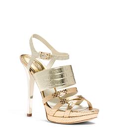 Nadja Crocodile Pattern-Embossed Leather Sandal
