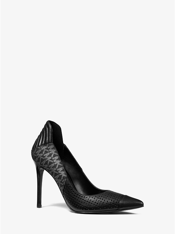 Uma Leather and Logo Cap-Toe Pump | Michael Kors