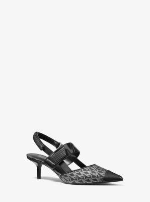 마이클 마이클 코어스 Michael Michael Kors Uma Logo and Leather Slingback Pumps,BLACK/SILVER